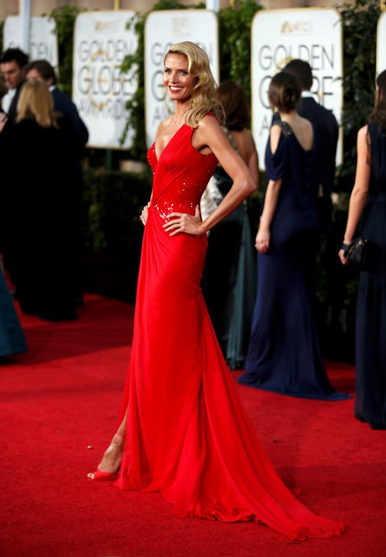 Model Heidi Klum arrives at the 72nd Golden Globe Awards in Beverly Hills, California January 11, 2015.  REUTERS/Danny Moloshok  (UNITED STATES - Tags: ENTERTAINMENT)(GOLDENGLOBES-ARRIVALS)