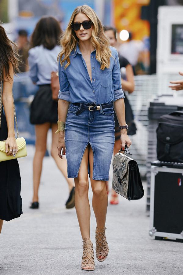 Olivia Palermo seen wearing denim with snakeskin bag while attending the Rebecca Minkoff Fashion Show during Mercedes Benz Fashion Week in NYC. Pictured: Olivia Palermo Ref: SPL834916  060914   Picture by: Webber / Splash News Splash News and Pictures Los Angeles:	310-821-2666 New York:	212-619-2666 London:	870-934-2666 photodesk@splashnews.com